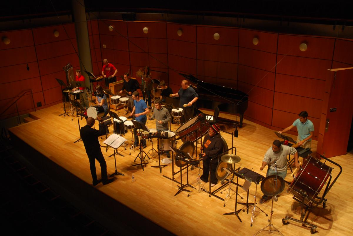 Percussion ensemble in Ramsey Concert Hall